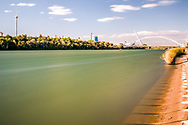 The Guadalquivir river and Barqueta Bridge, Seville, Spain. Long exposure shot.