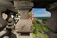 View of the river Allier and the old stone bridge from the balcony of the Mayor's House / the Castle of Pont-du-Chateau, Auvergne, France.