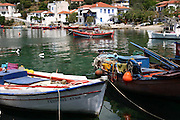 Greece, Thessaly, Agia Kiriaki, fishing boats in the bay in the little fishing village at the south west point of the peninsula Pelion