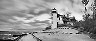 The Historic Point Betsie Lighthouse On A Stormy Lake Michigan Morning Before Sunrise, Michigan's Lower Peninsula, USA