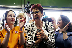 Co-Directors of Together For Yes Grainne Griffin (left) and Ailbhe Smyth (centre) arrive at the count centre in Dublin's RDS as votes are counted in the referendum on the 8th Amendment of the Irish Constitution which prohibits abortions unless a mother's life is in danger. Picture date: Saturday May 26, 2018. See PA story IRISH Abortion. Photo credit should read: Brian Lawless/PA Wire