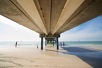 Under the pier on the beach in Clearwater, Florida, USA.