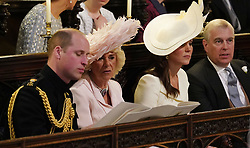 (Left to right) The Duke of Cambridge, the Duchess of Cornwall, the Duchess of Cambridge and the Duke of York during the wedding service for Prince Harry and Meghan Markle at St George's Chapel, Windsor Castle.