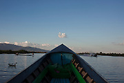 Boat in Inle Lake, Shane State, Myanmar. Inle Lake, Shane State, Myanmar.<br /> It is the second largest lake in Myanmar, is a freshwater lake located in the Nyaungshwe Town.<br /> Note: These images are not distributed or sold in Portugal