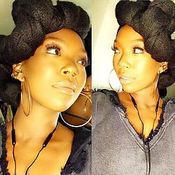 """Brandy Norwood releases a photo on Instagram with the following caption: """"Gaby, you know I have to go to bed but you make it impossible because of this makeup. @makeupartistgaby I love you lady. Thank you for enhancing the God in me\ud83d\udca1#GoodNight.  #BTW this scarf looks my twist. #love"""". Photo Credit: Instagram *** No USA Distribution *** For Editorial Use Only *** Not to be Published in Books or Photo Books ***  Please note: Fees charged by the agency are for the agency's services only, and do not, nor are they intended to, convey to the user any ownership of Copyright or License in the material. The agency does not claim any ownership including but not limited to Copyright or License in the attached material. By publishing this material you expressly agree to indemnify and to hold the agency and its directors, shareholders and employees harmless from any loss, claims, damages, demands, expenses (including legal fees), or any causes of action or allegation against the agency arising out of or connected in any way with publication of the material."""
