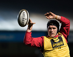 Dragons' Henri Williams during the pre match warm up<br /> <br /> Photographer Simon King/Replay Images<br /> <br /> Guinness PRO14 Round 14 - Dragons v Glasgow Warriors - Friday 9th February 2018 - Rodney Parade - Newport<br /> <br /> World Copyright © Replay Images . All rights reserved. info@replayimages.co.uk - http://replayimages.co.uk