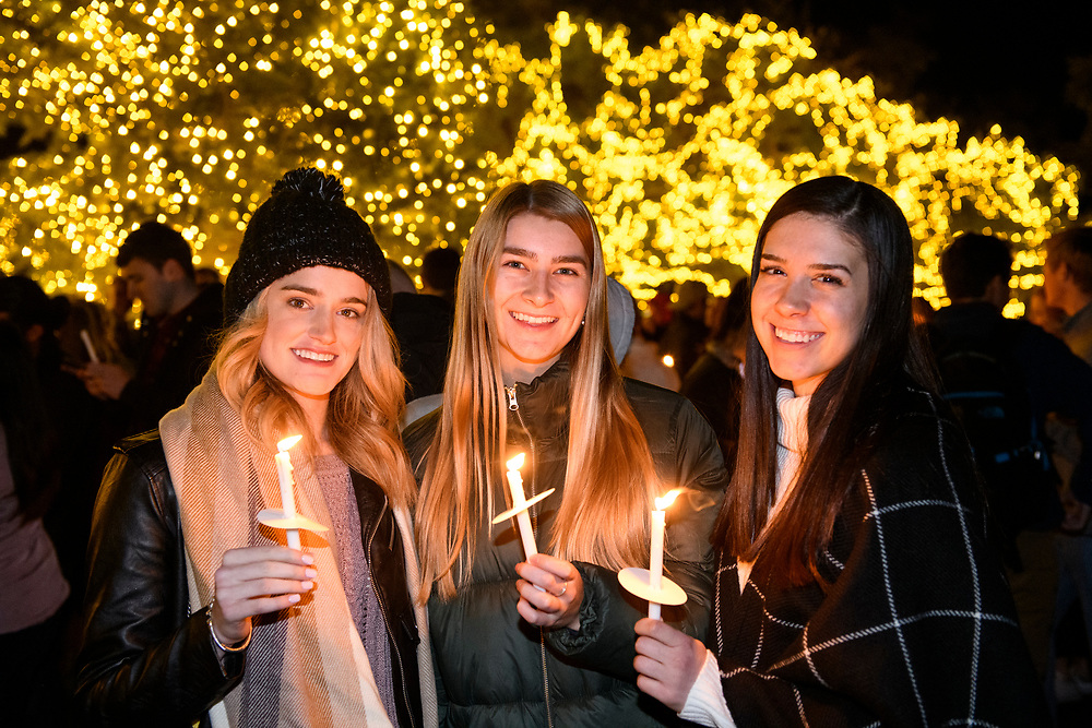 SMU students, alumni, faculty and community attend the 2019 Celebration Of Lights in front of Dallas Hall, Monday, December 2, 2019 on the SMU Campus.