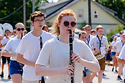 03 JULY 2021 - NORWALK, IOWA: The band from Norwalk High School marches through town during the 4th of July parade in Norwalk, Iowa. Last year's parade was cancelled because of the COVID-19 pandemic. Norwalk is an agricultural community south of Des Moines. In recent years, Norwalk has become a suburb of Des Moines.      PHOTO BY JACK KURTZ