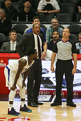 December 17, 2018 - Los Angeles, CA, U.S. - LOS ANGELES, CA - DECEMBER 17: Clippers coach Doc Rivers and Referee looking at replay screen during the Portland Trail Blazers at Los Angeles Clippers NBA game on December 17, 2018 at Staples Center in Los Angeles, CA.. (Photo by Jevone Moore/Icon Sportswire) (Credit Image: © Jevone Moore/Icon SMI via ZUMA Press)