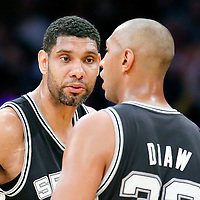 19 March 2014: San Antonio Spurs forward Tim Duncan (21) talks to San Antonio Spurs forward Boris Diaw (33) during the San Antonio Spurs 125-109 victory over the Los Angeles Lakers at the Staples Center, Los Angeles, California, USA.