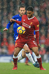10th December 2017 - Premier League - Liverpool v Everton - Joe Gomez of Liverpool battles with Gylfi Sigurdsson of Everton - Photo: Simon Stacpoole / Offside.