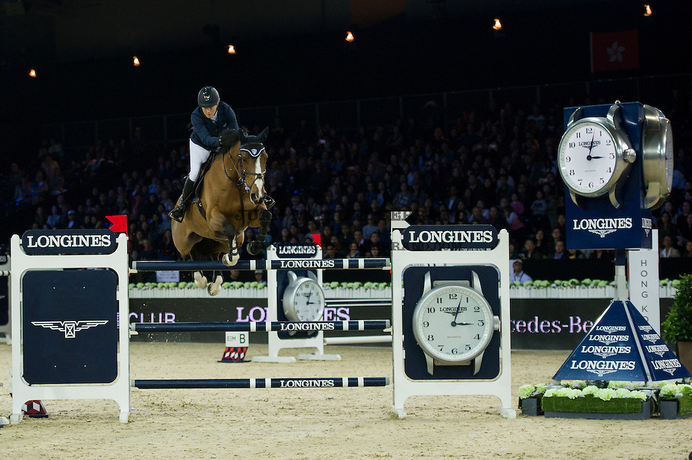 Laura Renwick on Bintang II competes during Longines Grand Prix at the Longines Masters of Hong Kong on 21 February 2016 at the Asia World Expo in Hong Kong, China. Photo by Juan Manuel Serrano / Power Sport Images