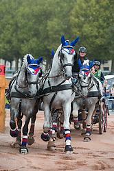 Jiri Nesvacil Jr, (CZE), Generale Aluma II, Generale Pastorella, GSS Amiga, GSS Ecrasee, Rudolfo Enamorada VI - Driving Marathon - Alltech FEI World Equestrian Games™ 2014 - Normandy, France.<br /> © Hippo Foto Team - Becky Stroud<br /> 06/09/2014