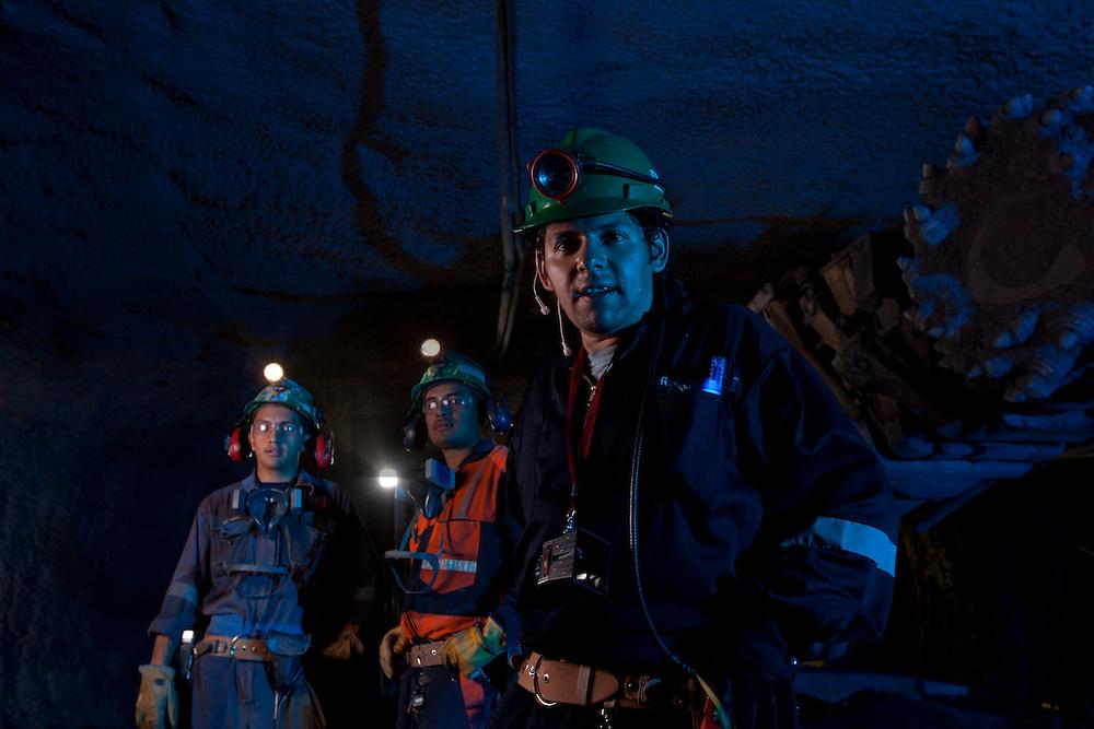Saucito, development site. Fresnillo plc. Fresnillo, Zacatecas, Mexico. Alpine miner at Candelaria. Mine works.