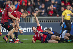 December 9, 2018 - Limerick, Ireland - JJ Hanrahan of Munster celebrates scoring with Andrew Conway and Mike Haley during the Heineken Champions Cup Round 3 match between Munster Rugby and Castres Qlympique at Thomond Park Stadium in Limerick, Ireland on December 9, 2018  (Credit Image: © Andrew Surma/NurPhoto via ZUMA Press)