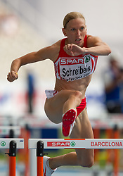 Victoria Schreibeis of Austria competes during the first round of the women's 100m hurdles at the 2010 European Athletics Championships at the Olympic Stadium in Barcelona on July 30, 2010. (Photo by Vid Ponikvar / Sportida)