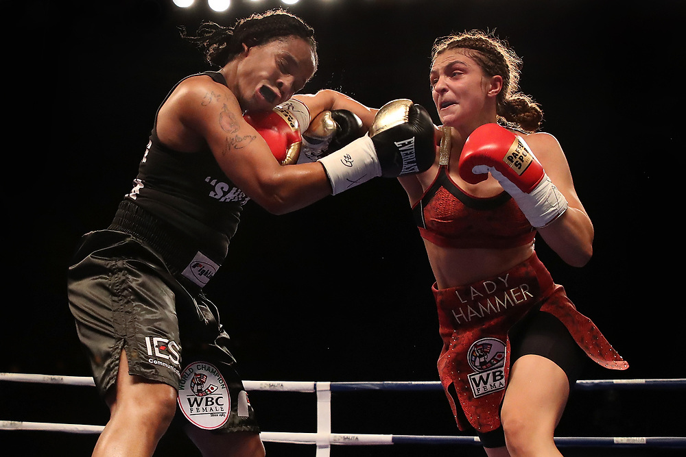 DETROIT, MI - JUNE 22: Christina Hammer of Germany (R) battles Tori Nelson (L) in the third round during their WBC and WBO world middleweight championship fight at the Masonic Temple Theater on June 22, 2018 in Detroit, Michigan.  (Photo by Gregory Shamus/Getty Images)