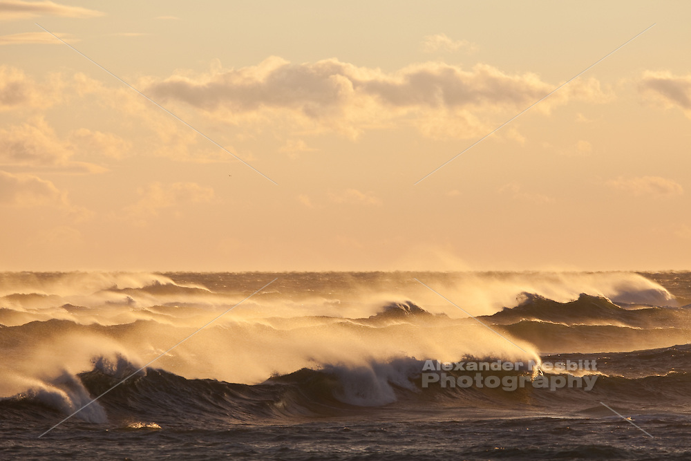 Newport, RI - Storm waves send plumes of spray into the sunset light.  The huge waves roll in off the southern tip of the rocky coast of Brenton point in Newport.