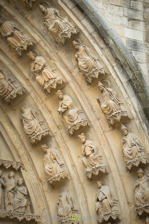 Close-up of relief sculptures on arch of Cathedral of Notre-Dame in Reims, France
