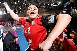 Cvijic Dragana of Krim celebrates after the 2nd Round of Group 1 at Women Champions League handball match between RK Krim Mercator, Ljubljana and HC Leipzig, Germany on February 13, 2010 in Arena Kodeljevo, Ljubljana, Slovenia. Krim defeated  Leipzig 32-26. (Photo by Vid Ponikvar / Sportida)
