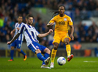 Preston North End's Daniel Johnson battles for possession with Brighton & Hove Albion's Oliver Norwood<br /> <br /> Photographer Ashley Western/CameraSport<br /> <br /> The EFL Sky Bet Championship - Brighton & Hove Albion v Preston North End - Saturday 15th October 2016 - American Express Community Stadium - Brighton<br /> <br /> World Copyright © 2016 CameraSport. All rights reserved. 43 Linden Ave. Countesthorpe. Leicester. England. LE8 5PG - Tel: +44 (0) 116 277 4147 - admin@camerasport.com - www.camerasport.com