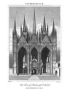 West Front of Peterborough Cathedral [Peterborough is a cathedral city in Cambridgeshire, England], Copperplate engraving From the Encyclopaedia Londinensis or, Universal dictionary of arts, sciences, and literature; Volume XIX;  Edited by Wilkes, John. Published in London in 1823