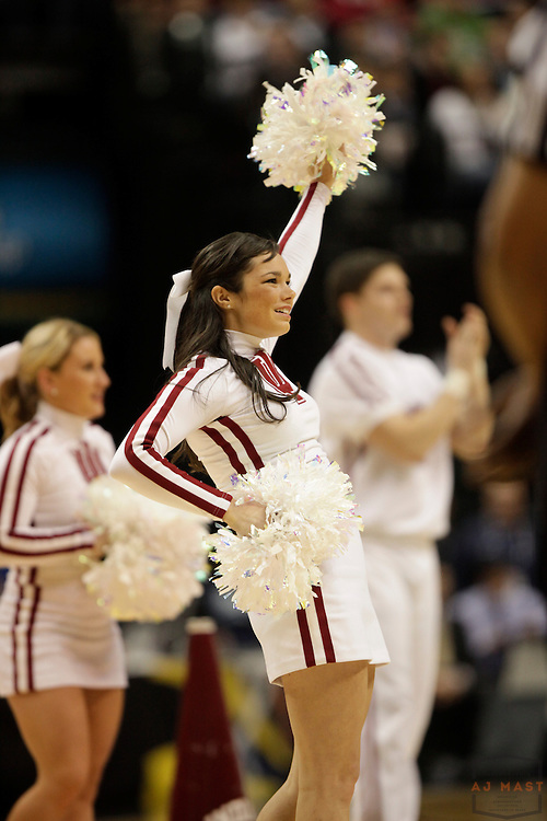 08 March 2012: An IU Cheerleader as the Indiana Hoosiers played the Penn State Nittnay Lions in a college basketball game during the Big 10 Men's Basketball Championship in Indianapolis