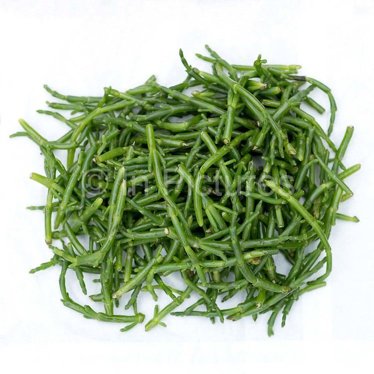 Samphire for sale at a roadside stall in the village of Salthouse, along the North Norfolk coast, United Kingdom on 8th June 2018. Samphire also known as sea asparagus is found widely in Norfolks coastal marsh regions and is a popular foraged food
