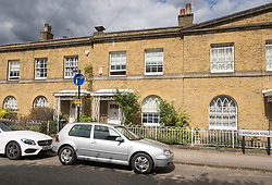 The house of Conservative peer David Prior in Cardigan Street, South London where former Olympic showjumper Lizzie Purbrick used pig's blood to daub lewd messages inside after she found he had cheated on her.