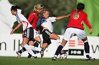 STAVANGER, NORWAY - JUNE 24 :  Julia Simic (GER) - Kathrine Andersen (NOR) the U19 women international friendly match between Norway and Germany at the klepp stadium  on June 24, 2008 in Stavanger, Norway. (Photo by Sigbjoern Anderas Hofsmo, Digitalsport, Bongarts/Getty Images for DFB)