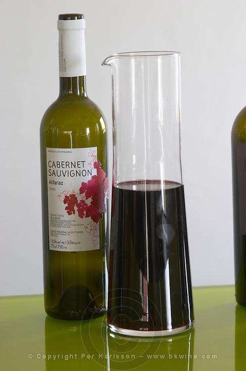 Bottles and decanters. Cabernet Sauvignon Alfaraz 2004. Henrque HM Uva, Herdade da Mingorra, Alentejo, Portugal