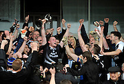 30-11-2014: Ardfert captain Jerry Wallace celebrates after receiving the cup from Munster Club Chairman George Frost after their victory over Valley Rovers in the Munster GAA Club Intermediate Football final in Killarney on Saturday.<br /> Picture by Don MacMonagle XXJOB