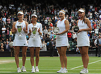 Lawn Tennis - 2021 All England Championships - Woman's Doubles Final - Wimbledon<br /> Veronika Kudermetova and Elena Vesnina (Russia) v Su - Wei Hsieh and Elise Mertens<br /> <br /> Su - Wei Hsieh and Elise Mertens celebrate with their winners trophies (left) with runners up, Veronika Kudermetova and Elena Vesnina (right)<br /> <br /> <br /> Credit : COLORSPORT/Andrew Cowie