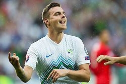Nejc Pecnik of Slovenia  celebrates after he scored second goal for Slovenia during the EURO 2016 Qualifier Group E match between Slovenia and England at SRC Stozice on June 14, 2015 in Ljubljana, Slovenia. Photo by Vid Ponikvar / Sportida