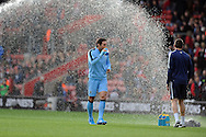 Frank Lampard of Manchester City nearly gets wet during the pre match warm up<br />  - Barclays Premier League - Southampton vs Manchester City - St Mary's Stadium - Southampton - England - 30th November 2014 - Pic Robin Parker/Sportimage