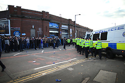 29th October 2017 - Sky Bet EFL Championship - Birmingham City v Aston Villa - Police emerge to move the Birmingham fans on before they can release the visiting coaches from the stadium - Photo: Simon Stacpoole / Offside.