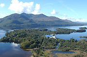 An aerial of Lough Leane and the Lakes of Killarney and The McGillycuddy Reeks Mountains in the background.<br /> Photo: Don MacMonagle