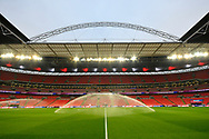 General view inside Wembley Stadium with the sprinklers on before the UEFA European 2020 Qualifier match between England and Czech Republic at Wembley Stadium, London, England on 22 March 2019.