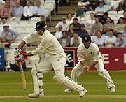 Lord's London, 1st NPower Test   England v New Zealand.  Stephen Fleming batting - Nasser Hussian fielding. 20/05/2004 <br /> [Credit Peter Spurrier Intersport Images}