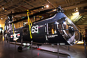 Piasecki H-25 helicopter in the hangar of the Intrepid Sea, Air & Space Museum is a military and maritime history museum with a collection of museum ships in New York City.