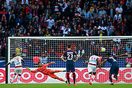Paris Saint Germain's French goalkeeper Alphonse Areola jumps during the French Championship Ligue 1 football match between Paris Saint-Germain and Girondins de Bordeaux on September 30, 2017 at the Parc des Princes stadium in Paris, France - Photo Benjamin Cremel / ProSportsImages / DPPI