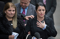 © Licensed to London News Pictures. 23/11/2016. London, UK. Jeanette Taylor (L), mother of victim Jack Taylor, talks to reporters as she stands with Jack's sister Donna outside the Old Bailey. Stephen Port has been found guilty of three murders in his trial at the Old Bailey.Photo credit: Peter Macdiarmid/LNP