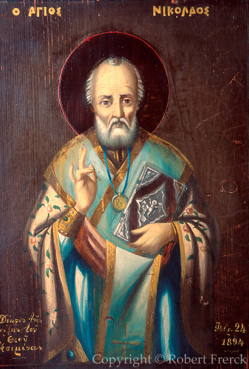 TURKEY, BYZANTINE CULTURE Antalya Archaeological Museum; icon portrait of St. Nicholas; 4thc.AD Bishop of Myra and model for our Santa Claus