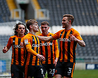 Hull City's Keane Lewis-Potter celebrates with Callum Elder George Honeyman and Gavin Whyte after he scores his side's second goal in the 71st minute to make it 2-0 <br /> <br /> Photographer Lee Parker/CameraSport<br /> <br /> The EFL Sky Bet League One - Hull City v Oxford United - Saturday 13th March 2021 - KCOM Stadium - Kingston upon Hull<br /> <br /> World Copyright © 2021 CameraSport. All rights reserved. 43 Linden Ave. Countesthorpe. Leicester. England. LE8 5PG - Tel: +44 (0) 116 277 4147 - admin@camerasport.com - www.camerasport.com