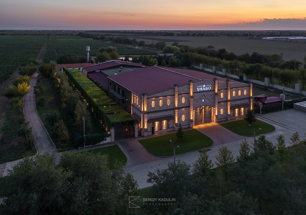 Фотосъемка с дрона центра культуры игристого вина SHABO. Съемка на закате.<br /> <br /> Exterior photoshoot of SHABO winery cultural center from drone. Sparkling wine production site at the sunset.