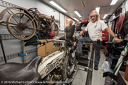 Thor losers Dan Kraft with his 1913 Thor and son Todd in the background with his 1914 Thor during the Motorcycle Cannonball Race of the Century. Stage-5 from Bloomington, IN to Cape Girardeau, MO. USA. Wednesday September 14, 2016. Photography ©2016 Michael Lichter.