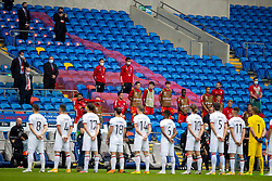 CARDIFF, WALES - Sunday, September 6, 2020: Wales substitute players stand for the national anthems before the UEFA Nations League Group Stage League B Group 4 match between Wales and Bulgaria at the Cardiff City Stadium. (Pic by David Rawcliffe/Propaganda)
