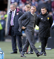 Celtic's manager Brendan Rodgers looks on against Heart of Midlothian during the Betfred Cup semi final match at BT Murrayfield Stadium, Edinburgh.