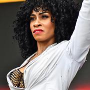 Thriller Live perfroms at West End Live 2019 in Trafalgar Square, on 22 June 2019, London, UK.