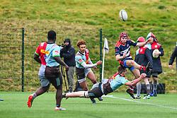 Ioan Lloyd of Bristol Academy U18 is tackled by George Hammond of Harlequins Academy U18 - Mandatory by-line: Craig Thomas/JMP - 03/02/2018 - RUGBY - SGS Wise Campus - Bristol, England - Bristol U18 v Harlequins U18 - Premiership U18 League